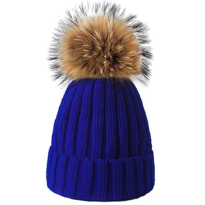 f9ad3e07dfc Yetagoo Kids Adult Winter Knit Beanie Hat Large Real Raccoon Fur Pom Pom  Womens Kids