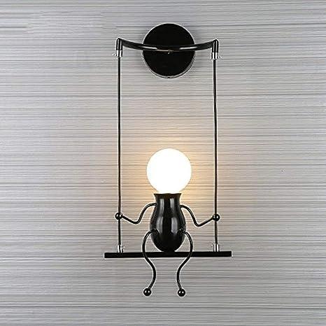FSTH Creativo Lámparas de Pared Simple Fashion Doll Swing Lámpara de Pared Moderna Apliques de Pared Metal Lámpara de Pared para Dormitorio, Escalera, ...