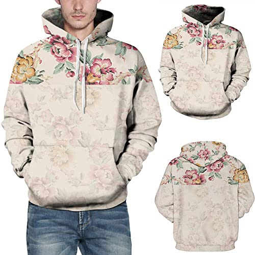 0456b4bb832ad Amazon.com: Amiley mens hoodies,Men's Fashion Hoodie Floral Print Autumn  Winter Sweatshirt with Kangaroo Pockets Pink: Shoes