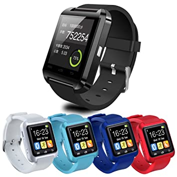 Behavetw Smartwatch, Reloj Inteligente Bluetooth U8 con Cronómetro SMS Call para iOS Android iPhone Samsung, Reloj de Pulsera, Negro: Amazon.es: Deportes y ...