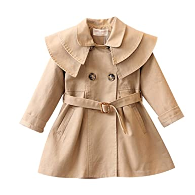TAIYCYXGAN Baby Toddler Girls Ruffle Jacket Coat Bowknot Autumn Outwear Trench Coat Overcoat