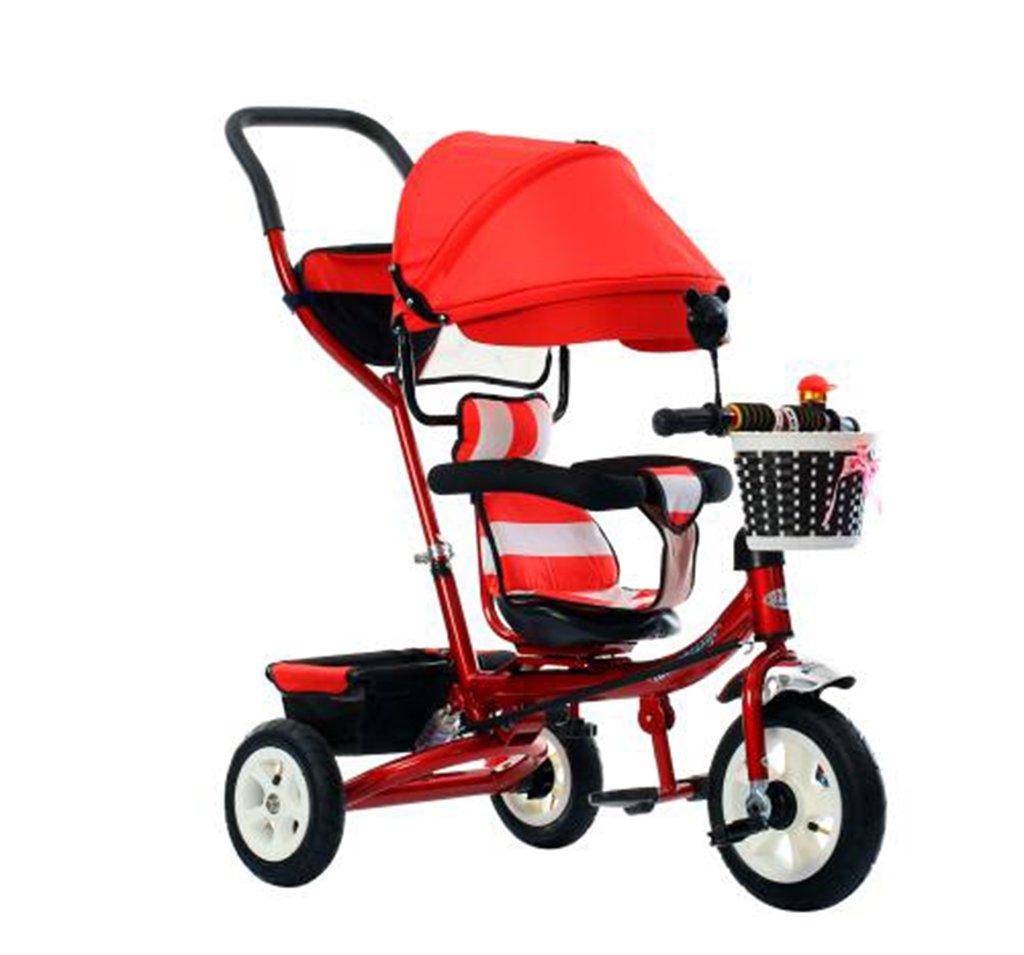 KANGR-子ども用自転車 三輪車の赤ちゃんキャリッジバイク子供のおもちゃのトロリーインフレータブルホイール自転車3つの車輪、回転可能な座席/ Foldable(少年/少女、1-3-5歳) B07BTWNN6C