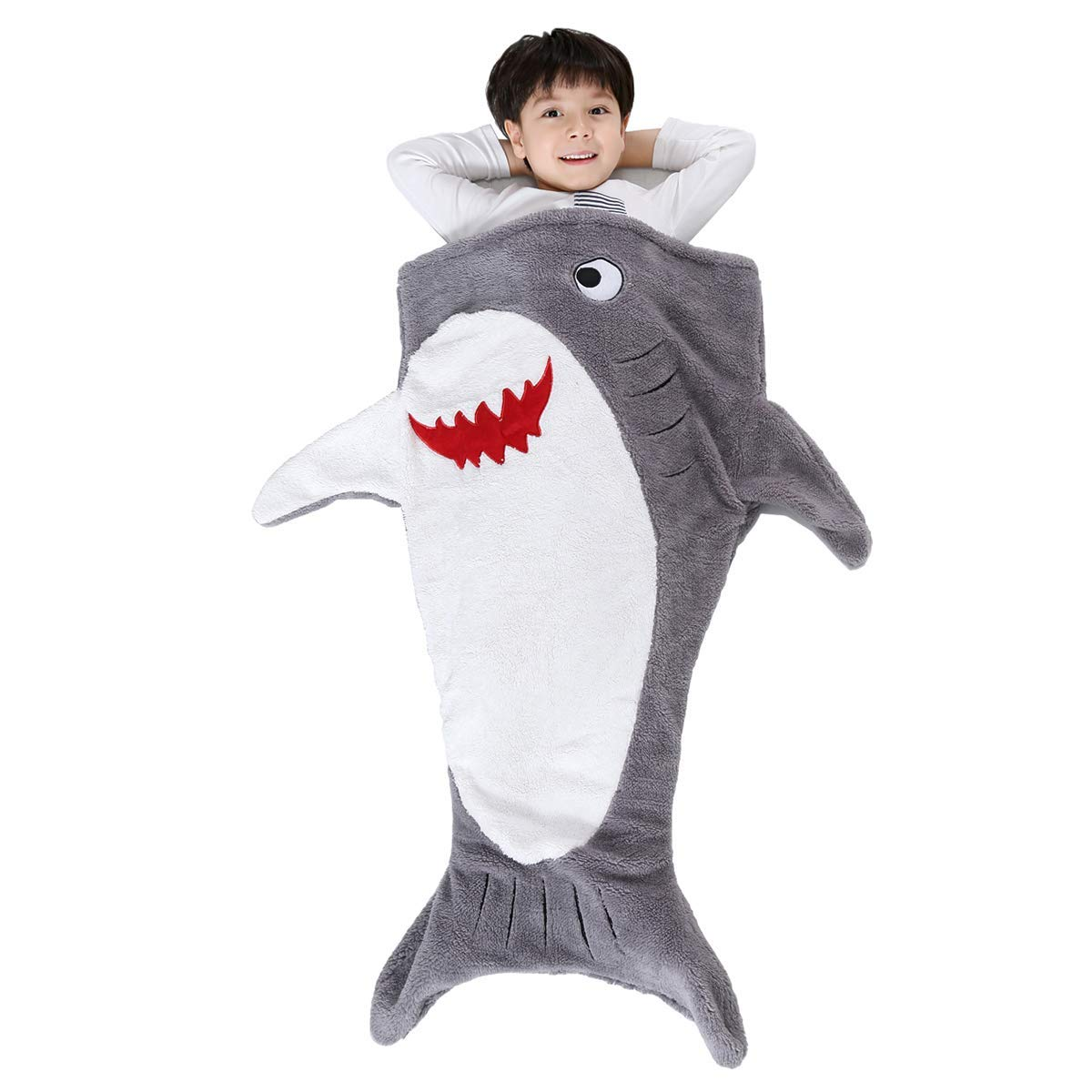 SINOGEM Shark Tail Blanket - Plush Animal Sleeping Bag Blanket Shark Toys for Kids by (Grey)