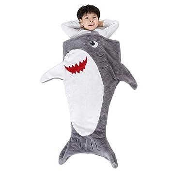 promo code 5b17f 3e770 SINOGEM Shark Tail Blanket - Plush Animal Sleeping Bag Blanket Shark Toys  for Kids by (Grey)