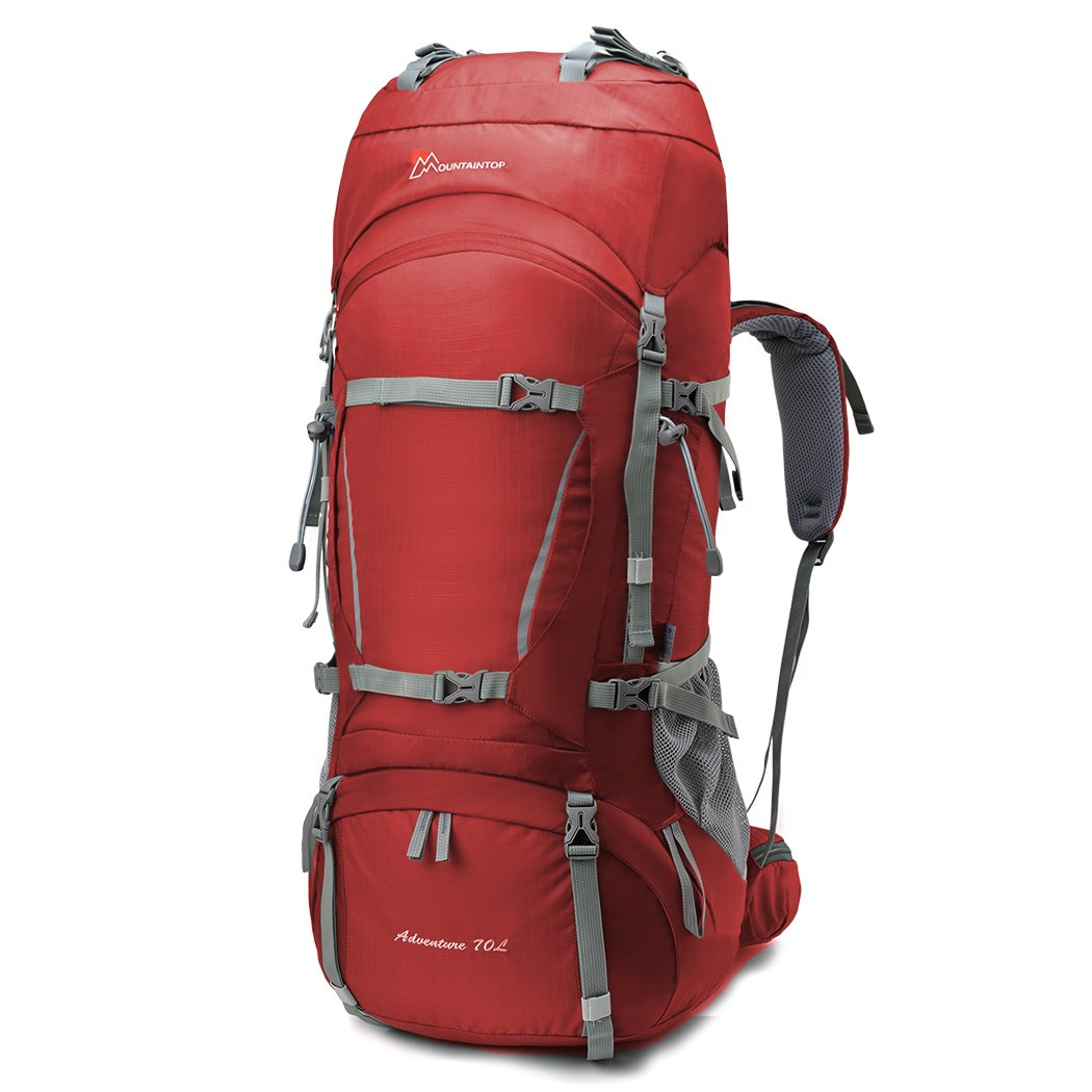 MOUNTAINTOP 70L+10L Internal Frame Backpack Hiking Backpack Backpacking  Trekking Bag with Rain Cover-5805II (Red) 999c304fd3df9