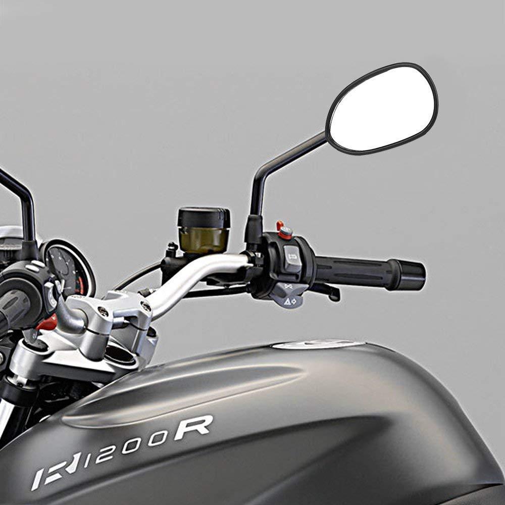 scooter rotaci/ón ajustable tornillos M8 banda de rodamiento Par de espejos retrovisores para moto