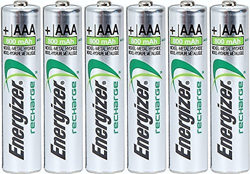 Energizer AAA Rechargeable NiMH Battery 800 mAh 1.2V x six (6) ()