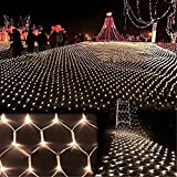 DOCHEER LED Net Mesh String Fairy Light Warm White, 9.8ft x 6.6ft 204 LEDs 8 Modes, LED Indoor Outdoor String Lights Waterproof Wedding Party Garden Room Christmas Holiday Decorative Light