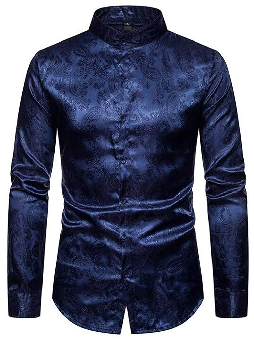 Rrive Mens Long Sleeve Stand Collar Button Down Paisley Printed Dress Shirts