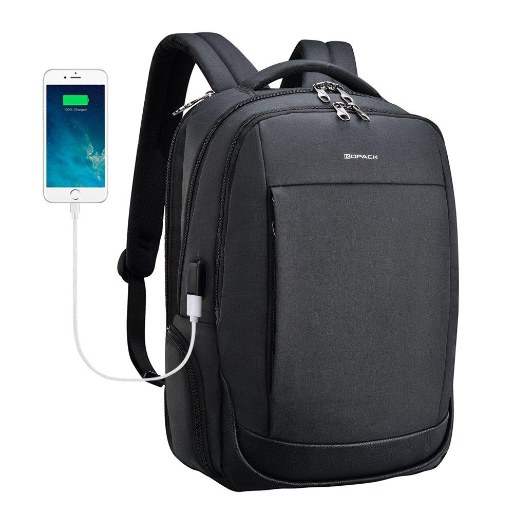 kopack Laptop Backpack Quick Access Side Load Travel Backpack Water Repellent Detachable USB Port Tear Resisting 15.6 Inch Black
