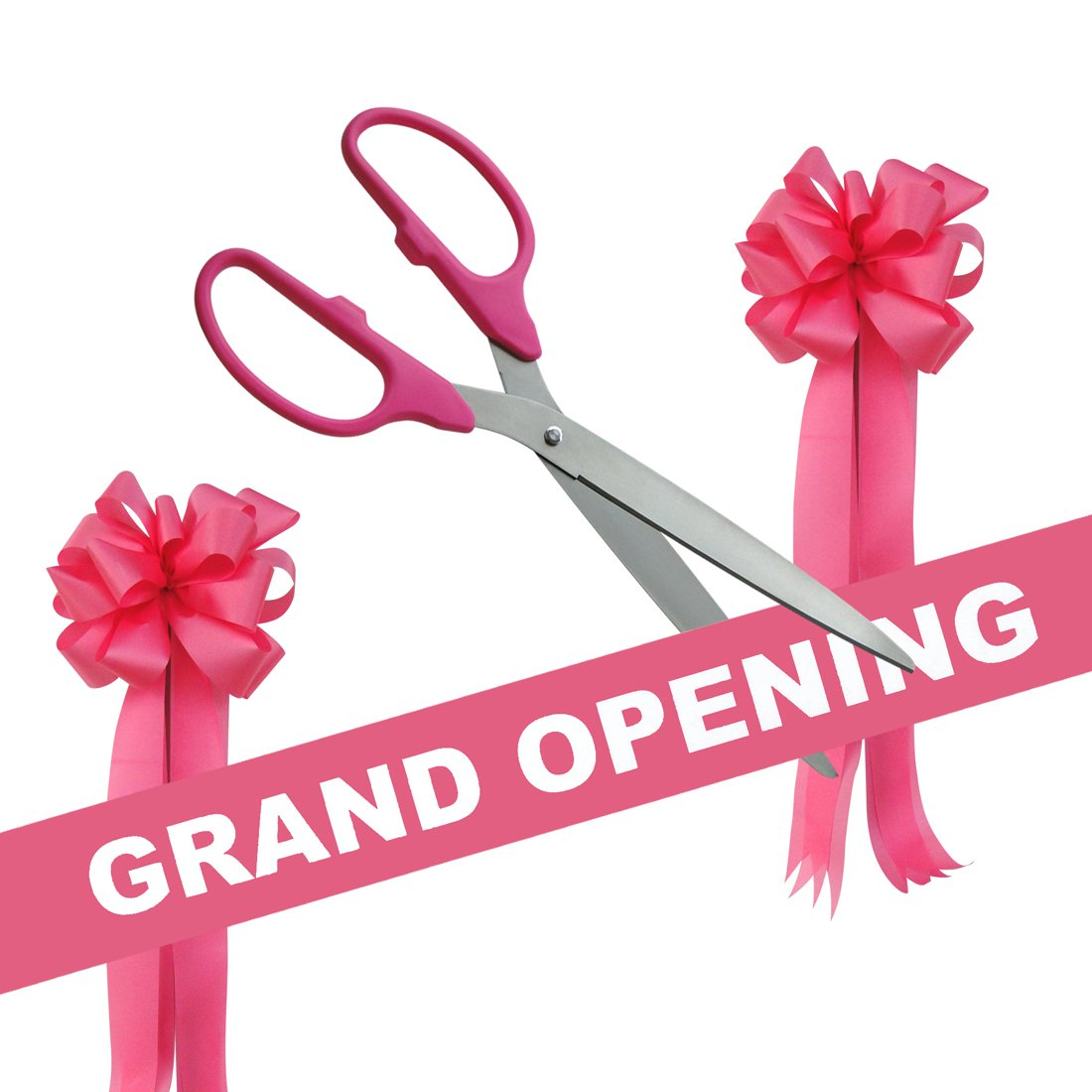 Grand Opening Kit - 36'' Pink/Silver Ceremonial Ribbon Cutting Scissors with 5 Yards of 6'' Pink Grand Opening Ribbon and 2 Pink Bows by Engraving, Awards & Gifts