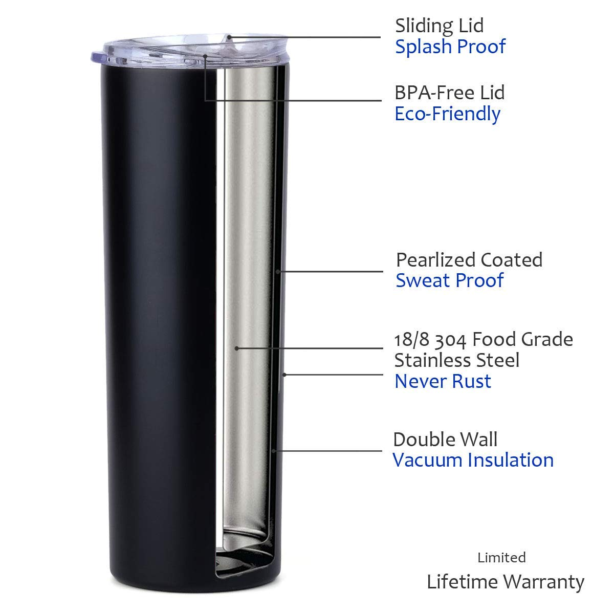 Stellar 20 oz. Skinny Steel 12 Pack Double Wall Stainless Tumbler (White) by Stellar (Image #3)