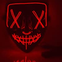 YCL LED Mask Halloween Mask Light up Cosplay Glowing Mask Gecorations Gift for Costumes Christmas (Red)