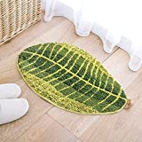 Cheap PlayDo Living Room Carpets Rugs Green Leaf Shaped Home Bedroom Floor Rug Doormat (17.7″47.2″)