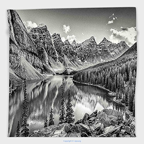 Vipsung Microfiber Ultra Soft Hand Towel-Black And White Decor Mountain Creek Lake By The Hills Canadian Rocky Valley Peaceful Landscape Grey For Hotel Spa Beach Pool Bath (Canadian Dinosaur Coin)