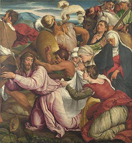 Oil painting ` Jacopo Bassano The WayポリエステルキャンバスにプリントをCalvary `、20x 22インチ/ 51x 55cm、最高のバスルーム用装飾とホームギャラリーアートとギフトはこの高解像度アート装飾プリントキャンバスの商品画像
