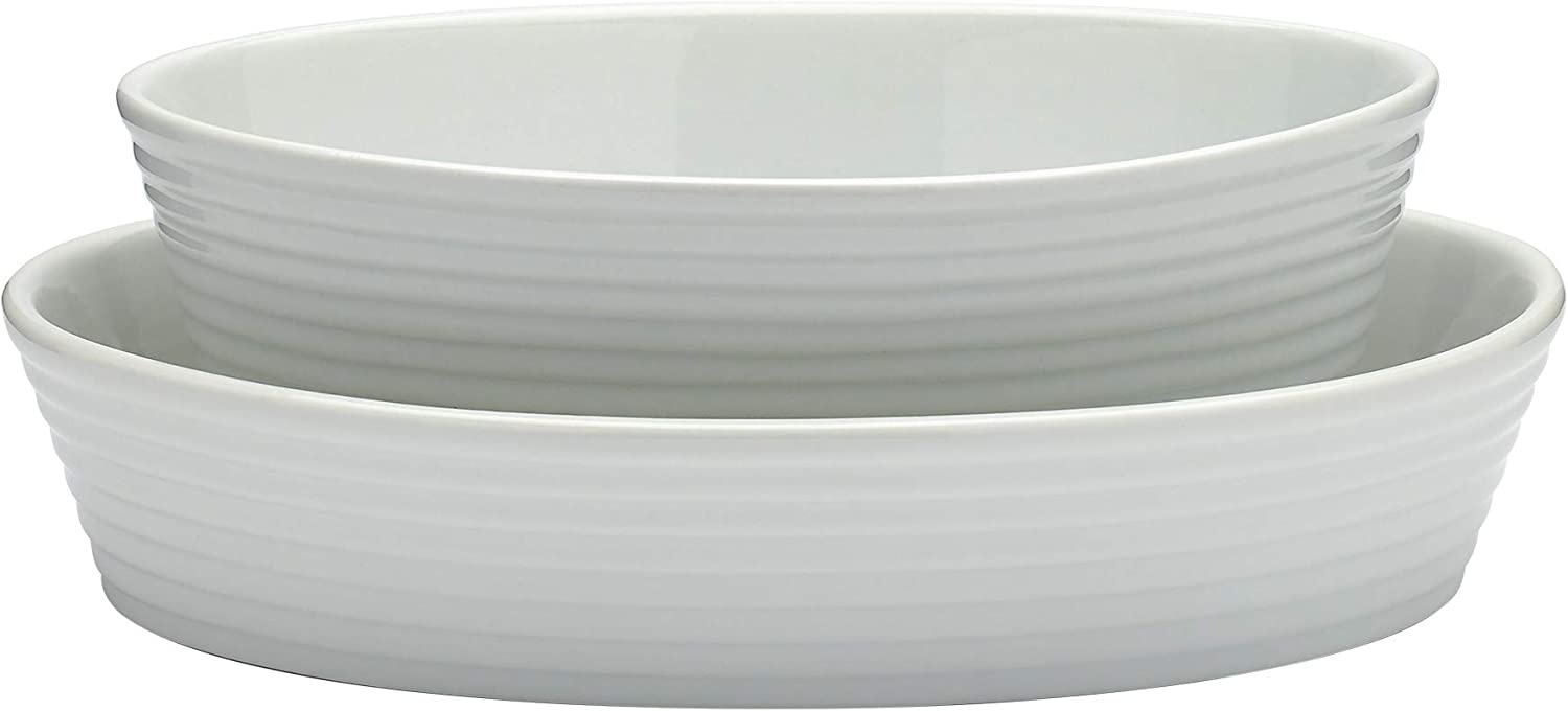 "Denmark Tools For Cooks White Baking and Serving- White Porcelain Oven Dishwasher Freezer Microwave Safe, Set of 2 Oval Baking Dishes (10"" & 12"")"