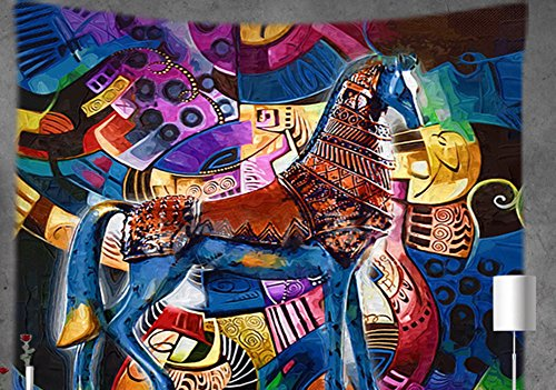 MEIYIMI Psychedelic Colorful Bohemian Wall Hanging Tapestries - Decor Indian Home Hippie Boho Tapestry for Dorms(Colorful Horse,59