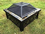 Lizh Metalwork 30-inch Outdoor Square Fire Pit Table with Natural Slate Tile,Wood Buring Patio Heater