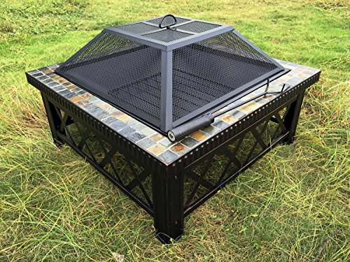Lizh Metalwork 30-inch Outdoor Square Fire Pit Table with Natural Slate Tile,Wood Buring Patio Heater by Lizh Metalwork
