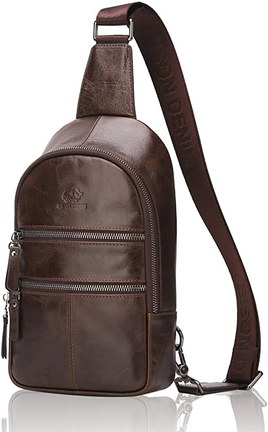 Men Leather Sling Bag Sports Pouch Pack Cross Body Chest Bag Travel Backpack