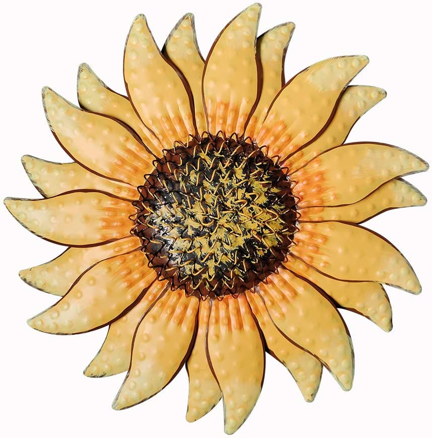 Hanizi 13 Inch Metal Sunflower Wall Art Wall Decor Fence Decor Yard Wall Hanging Sculptures Decor