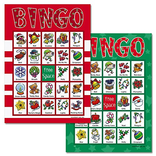 Santa Christmas Bingo Game - 18 Holiday Bingo Cards