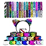 17 PCS Mermaid Sequin Bracelets, Two-Color Decorative Reversible Glitter Sequin Slap Bracelets - 16PCS Magic Bracelets and 1 Cat Ear Sequin Headband for Kids, Girls, Boys, Adult