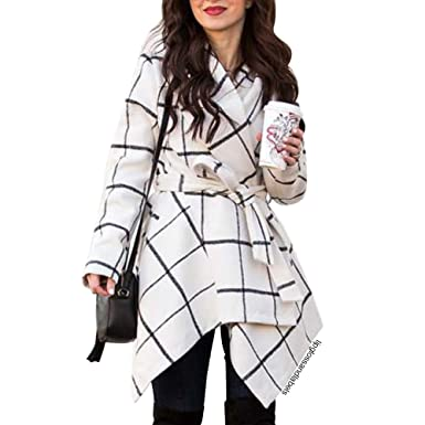 6f2bf2ffcd9 Chicwish Women s Turn Down Shawl Collar Open Front Long Sleeve Grid  Off-White Asymmetric Hemline