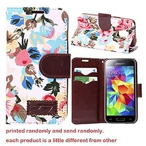 Para Galaxy S5 mini , ivencase Simple Flor Magnética Billetera Patrón PU Cuero Stand Closure Protector Funda Carcasa Tapa Case Cover Para Samsung Galaxy S5 mini / SM-G800 Blanco