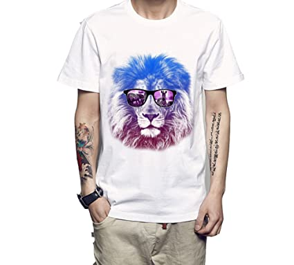 53446864402bbc Herren Tiere t Shirt Lustiger Löwe Druck Kurzarm Rundhals Shirt Bluse  Kurzarmshirt Sport T-Shirt  Amazon.de  Bekleidung