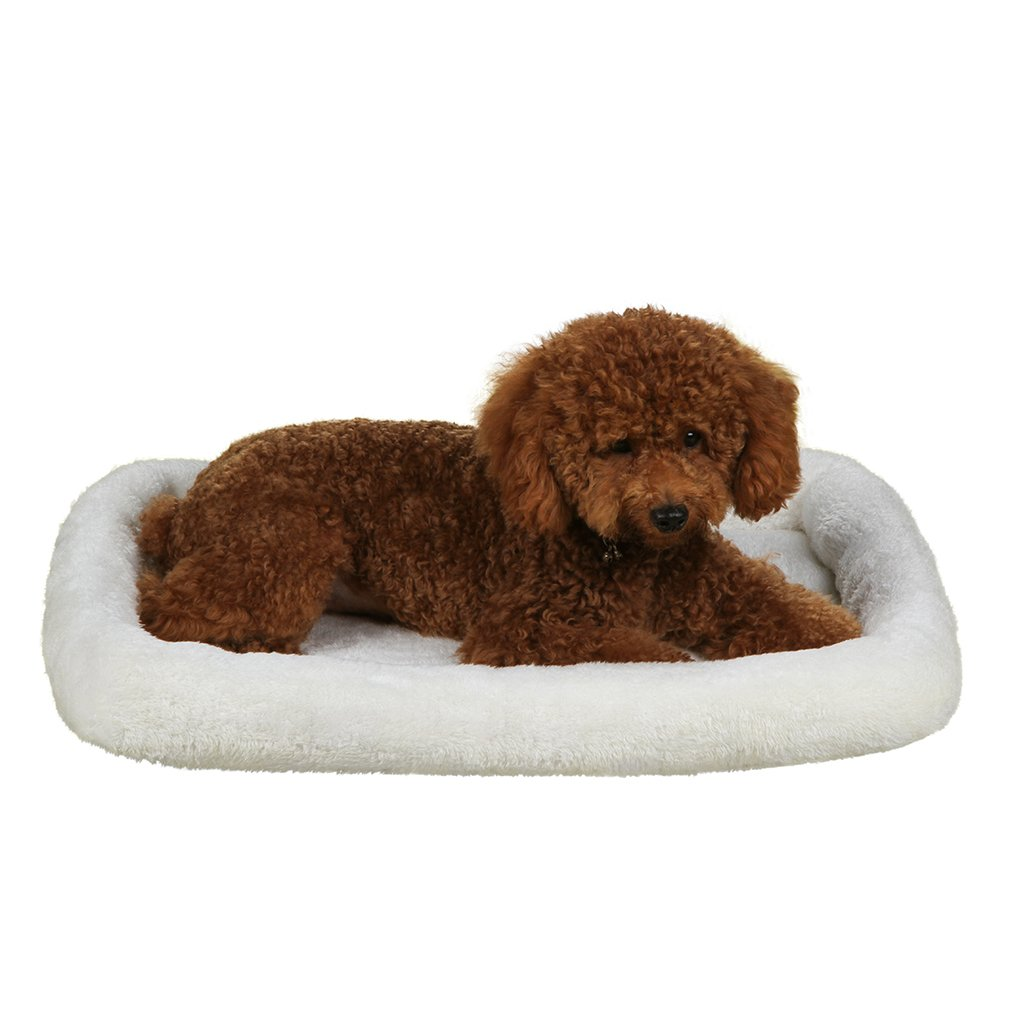 QIAOQI Dog Bed Washable Pet Fleece Bed Puppy Cat Crate Cushion Mat Medium Cream