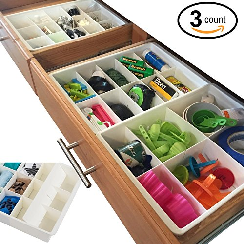 Uncluttered Designs Adjustable Drawer Dividers for Utility Drawer Kitchen Storage and Organization by (3 (Adjustable Drawer Organizer)