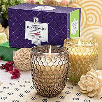 Premium Highly Scented Luxury Candles - Gift Set of 2 Beautiful Honeycomb Jars - Peppermint and Vanilla, Best Gift!