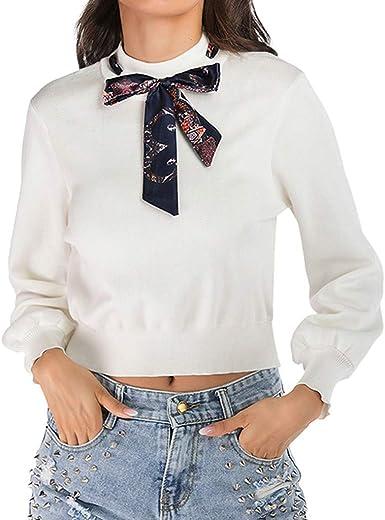 Auifor🌻Casual Camisa Salvaje Vendaje O-Cuello del Color sólido de Manga Larga Corbata de Lazo de Punto de Las Mujeres de Moda: Amazon.es: Ropa y accesorios