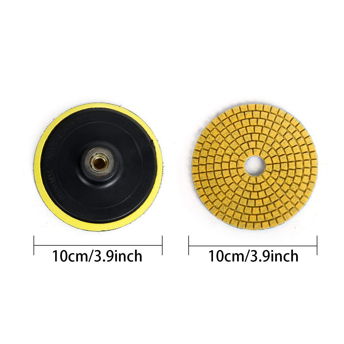Funhoo 18pcs 4Tamponi per lucidatura del diamante e 1 cuscinetto autoadesivo M10 Dischi per lucidatura per pietre asciutte bagnate Accessori Ghiaia per rettificatrice Trapano per granito