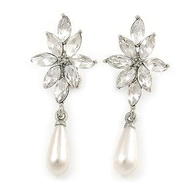 Bridal/Prom/Wedding Clear Crystal Faux Pearl Drop Clip On Earrings In Gold Tone - 50mm L fDqtevsy