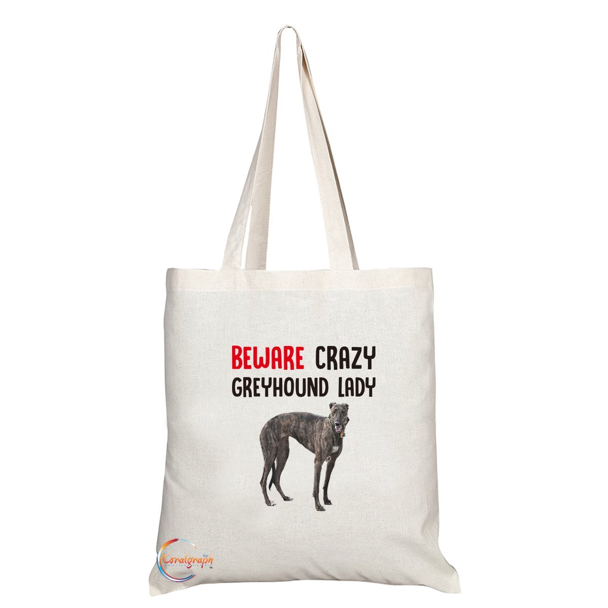 TB264 Beware Crazy Greyhound Lady Novelty Present Gift Printed Eco-Friendly Stylish Long Handled Tote Shoulder Bag Coralgraph Inc