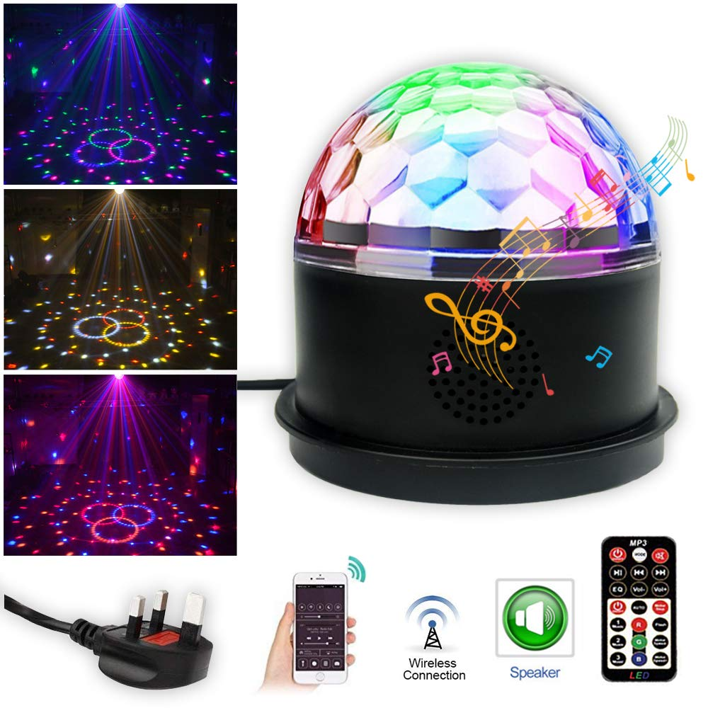Disco Ball Party Lights SPOOBOOLA Bluetooth Speaker Dj Disco Lights 9 Colors Strobe Lights Magic Ball Dj Equipment Sound Activated Stage Lights with Remote Control for Christmas KTV Bar Home Party Wedding Club