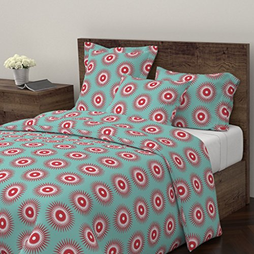 Holiday Duvet Cover Christmas Ornament Starburst Modern Blue Red by Fable Design 100% Cotton King Duvet - Ornament Blue Starburst