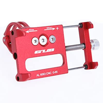 GUB Bicycle & Motorcycle Phone Mount, Aluminum Alloy Universal Bike Handlebar Phone Mount Holder Adjustable Compatible with iPhone X XR Xs 7s 8 Plus,Compatible with SamsungS9/S8/Note5/4 (red)