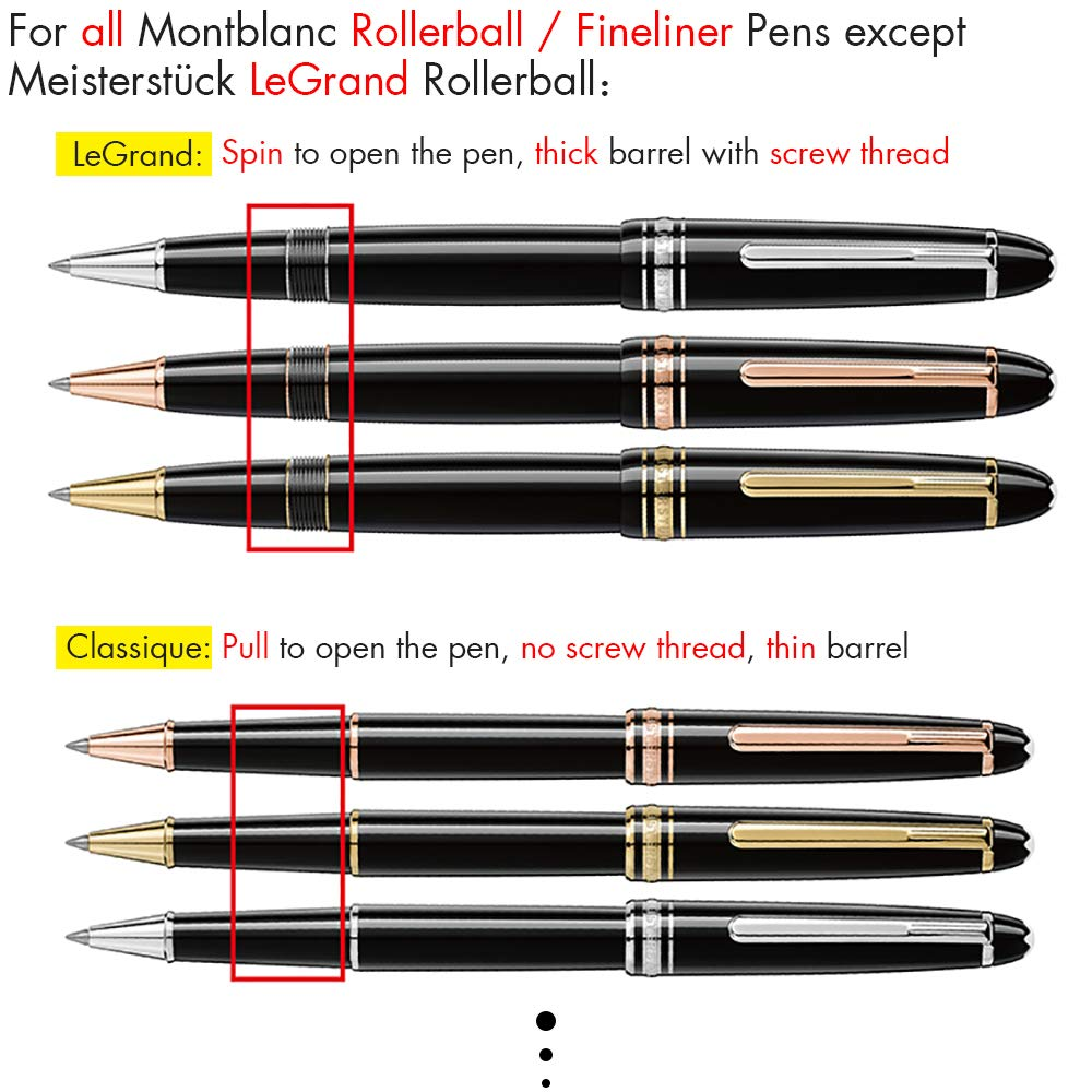 Unibene Montblanc Compatible Gel Ink Rollerball Refills 12 Pack, 0.7mm Medium Point - Blue, Rolling Ball Refills Fit Mont Blanc Rollerball/Fineliner Pen by Unibene (Image #7)