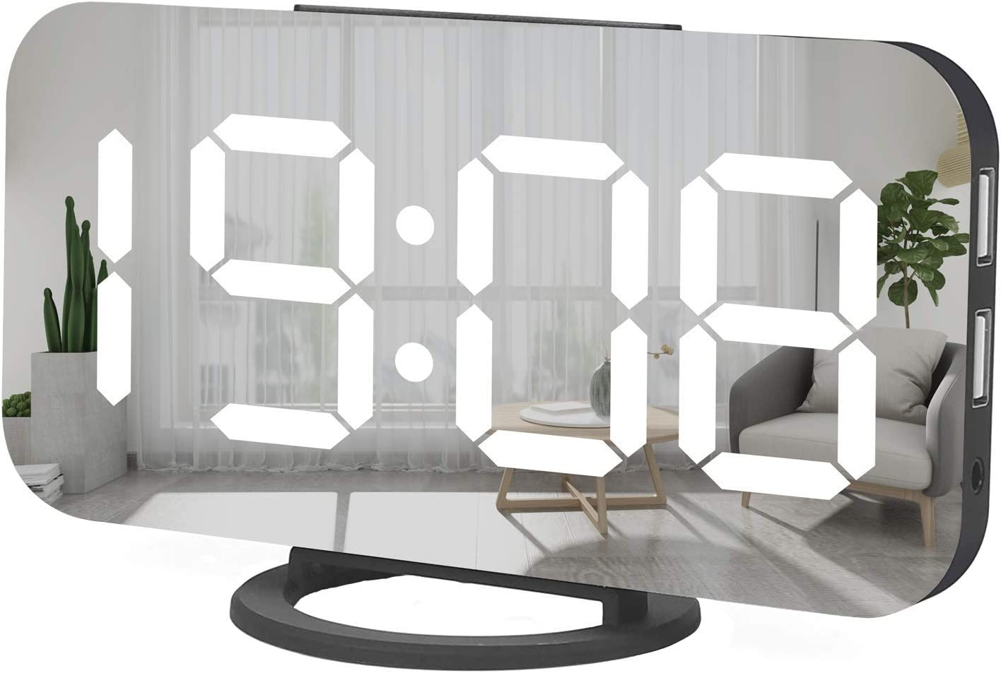 Miowachi Digital Alarm Clock,Large Mirrored LED Clock,Snooze,Dim Night Light 2 USB Charger Ports Desk Alarm Clocks for Bedroom Decor (Black)