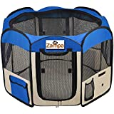 "Pet 45"" Playpen Foldable Portable Dog/Cat/Puppy Exercise Kennel For Small medium Large. The Best Indoor And Outdoor Pen. With Cary Bag. Easily Sets Up & Folds Down & Space Free"