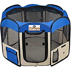 """Pet 45"""" Playpen Foldable Portable Dog/Cat/Puppy Exercise Kennel For Small medium Large. The Best Indoor And Outdoor Pen. With Cary Bag. Easily Sets Up & Folds Down & Space Free (Blue)"""