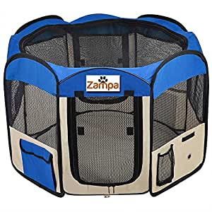 "Pet 45"" Playpen Foldable Portable Dog/Cat/Puppy Exercise Kennel For Small medium Large. The Best Indoor And Outdoor Pen. With Cary Bag. Easily Sets Up & Folds Down & Space Free (Blue)"