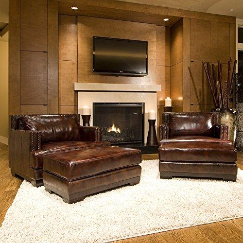 Elements Davis Set Top Grain Saddle Leather Accent Chair and Ottoman, 2-Piece
