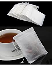 NUOMI Paper Tea Fliter Bags for Loose Leaf Tea 200 Pieces Disposable Drawstring Empty Bag, 5.5*6 CM
