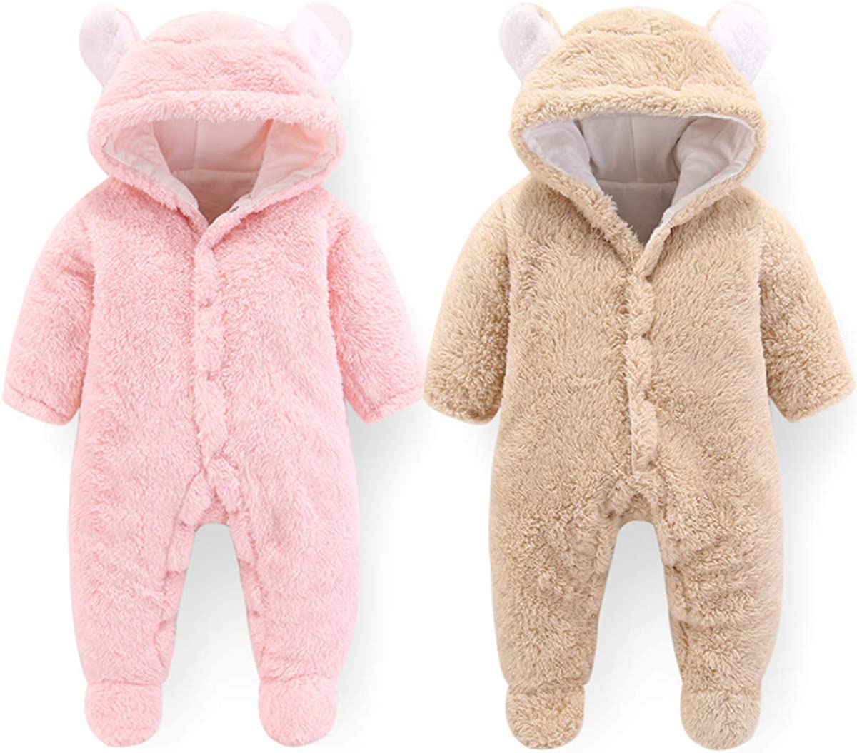 Borlai Baby Romper Jumpsuit Snowsuit Warm Cute Bear Pattern Hooded Outerwear Unisex