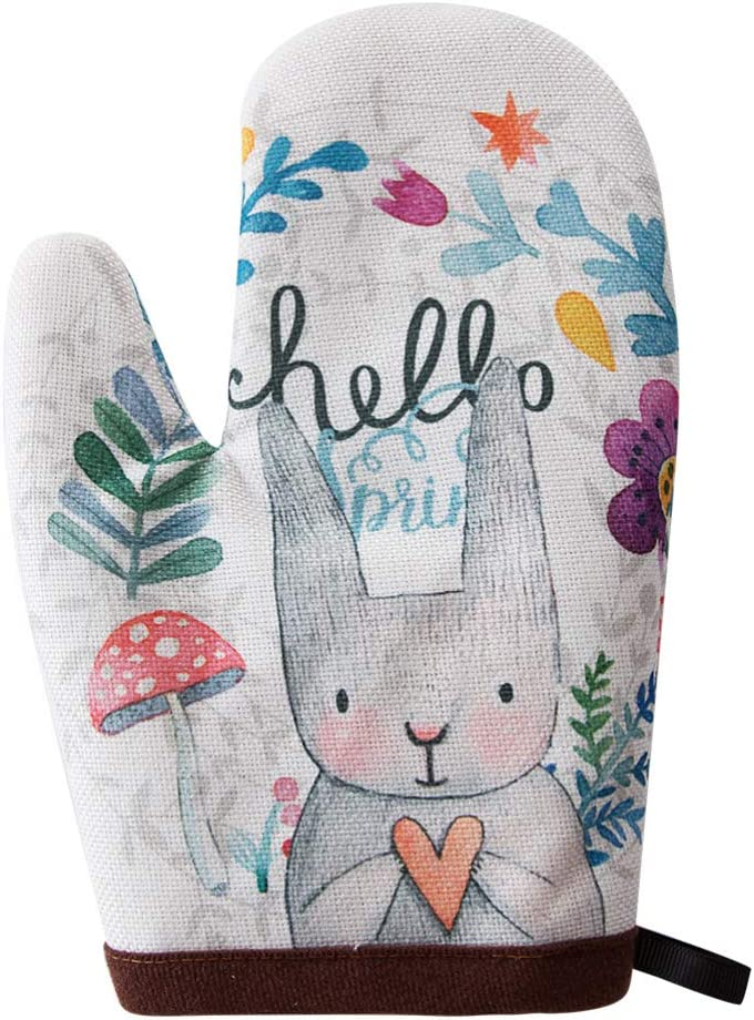 Ins Creative Nordic Hello Rabbit Cute Rabbit Bunny Home Oven Mitts Potholder Heat Resistant Gloves Protect Hands Surface with No-Slip Grip Hanging Loop Handling Hot Cookware Item Microwave Oven Baking